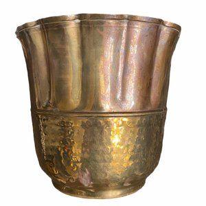 Vintage Hammered Brass Flower Plant Pot